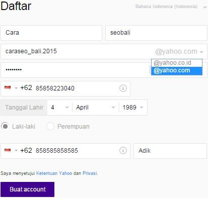cara pendaftaran yahoo indonesia