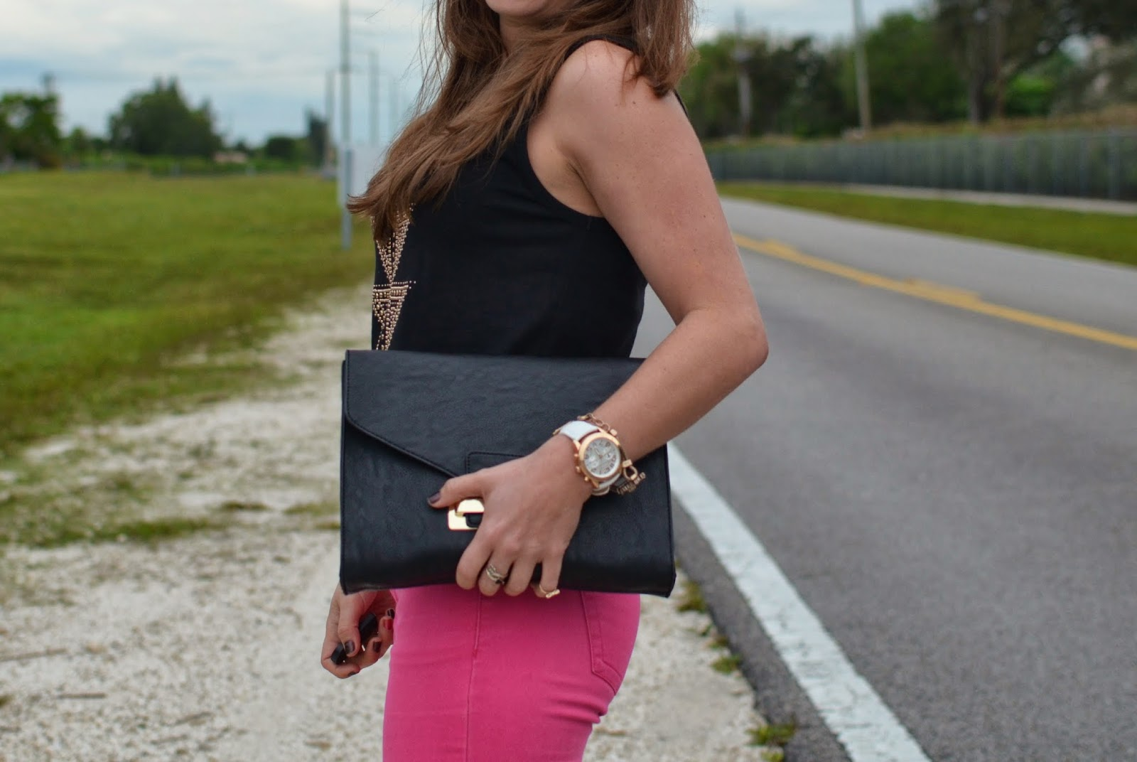 michael kors watch - black clutch -