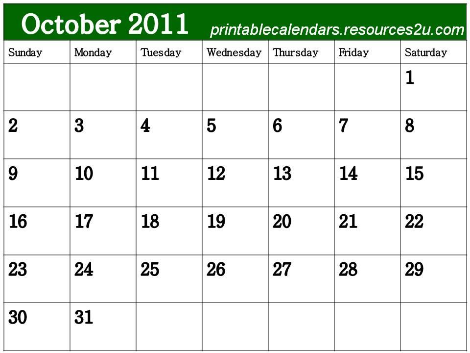 october 2011 calendar. BLANK OCTOBER 2011 CALENDAR
