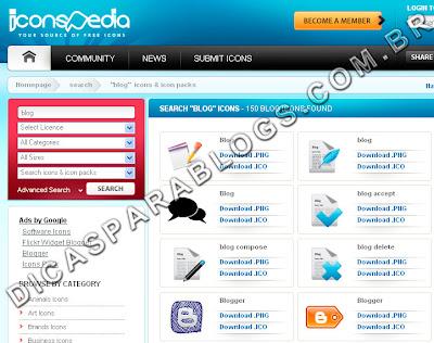 achar icones e imagens para o blog