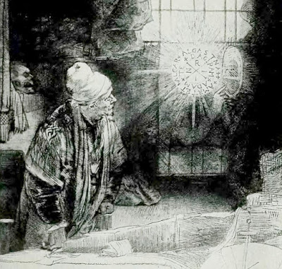 Rembrandt's etching of Dr. Faustus in his study