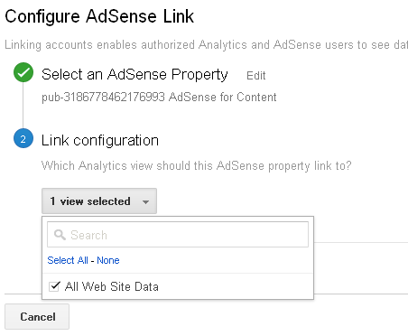 Linking analytics to adsense