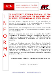SE CONSTITUYE SECCIÓN SINDICAL DE CTA EN EL SERVICIO DE ORA DEL AYUNTAMIENTO DE JEREZ, GESTIONADO P