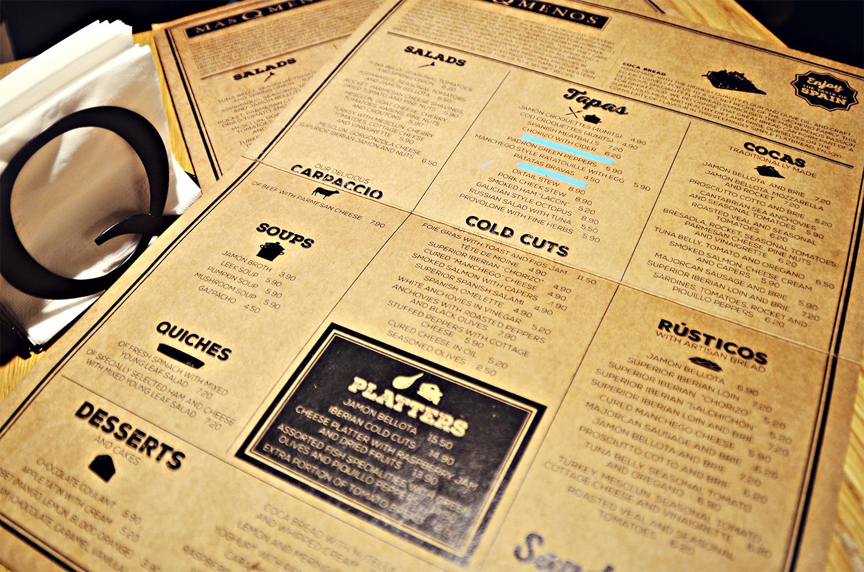 Menu at Mas Q Menos, London, Spanish Tapas, Cocas