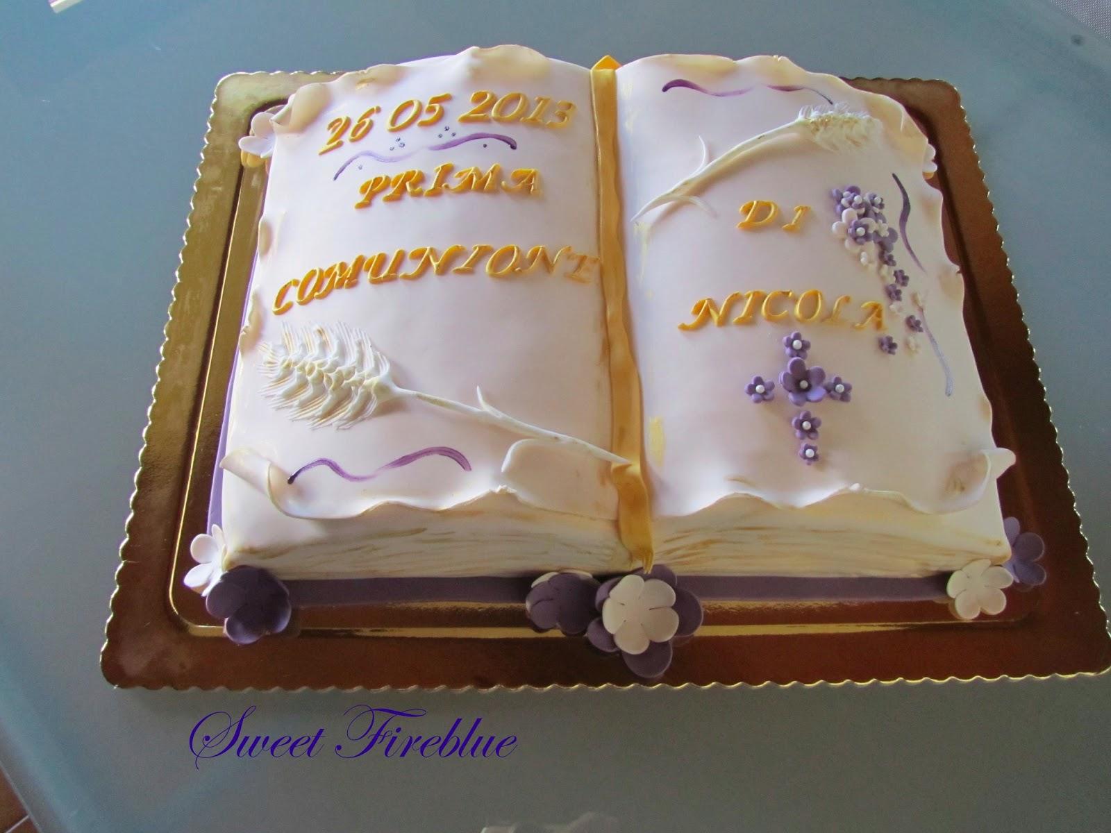 Sweet fireblue una torta libro per la comunione for Piani domestici a forma di t