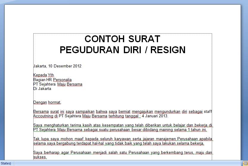 contoh surat pengunduran diri resign terbaik