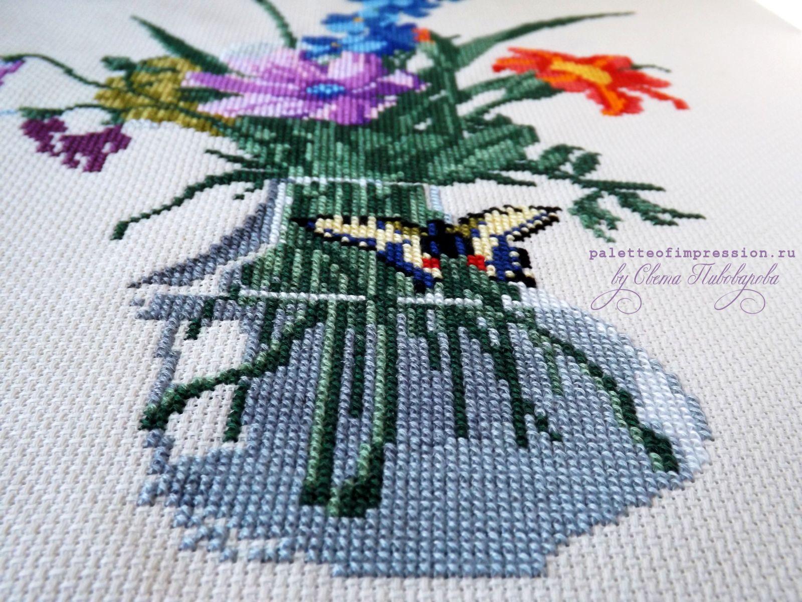 Букет цветов, бабочка и птичка. Проект: Рабочее место.