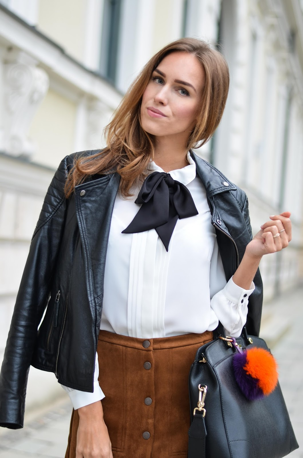 kristjaana mere bow tie shirt suede skirt fall outfit