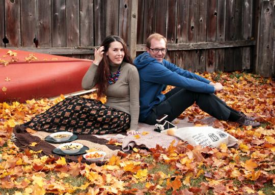 picnic in leaves