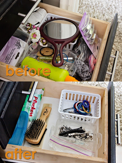 drawer reorganization: making a hair thing drawer