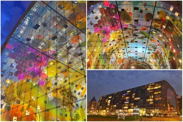 Mercado Markthal en Rotterdam por la noche y detalles del mural en el techo