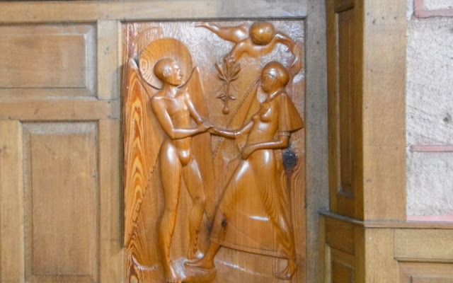 The Annunciation panel at Saint Edward Confessor Church