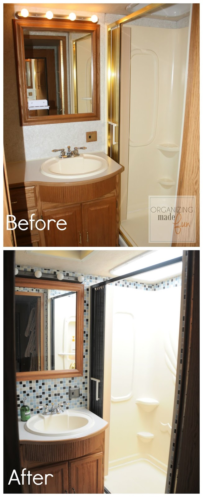 RV bathroom BEFORE with brass shower :: OrganizingMade Fun.com