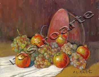 Bodegón con caldera de cobre, uvas y granadas