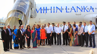 The Mihin Lanka management and the welcoming party from the Authorities of the Seychelles on landing of the inaugural flight with the Seychelles Transport and Home Affairs Minister Joel Morgan