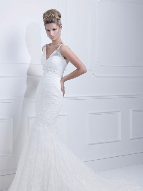 Ellis wedding dresses 2013  lace v-neck mermaid