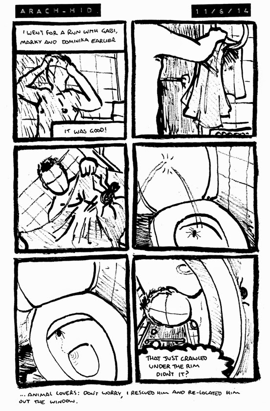 comic where Alex finds a spider on his towel and knocks it into the toilet, where it hides under the rim