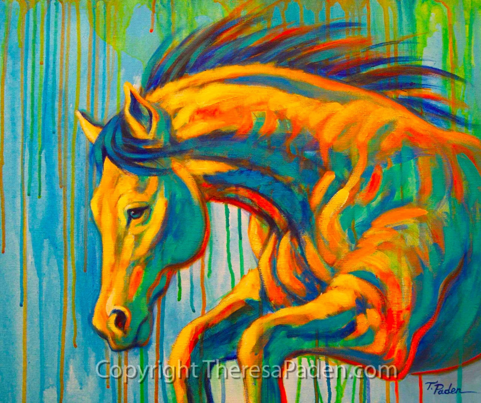 Abstract horse art in bright colors by theresa paden for Cool paintings for sale