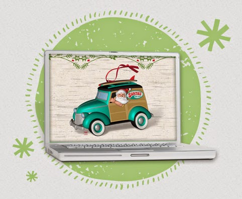 Free Hallmark Christmas in July Desktop Wallpaper Santa Woody Surfboard
