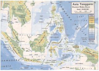 Peta relief wilayah Indonesia (Sumber: Atlas Geografi Indonesia dan Dunia, Pustaka Ilmu)