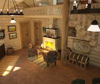 Дизайн проект дома в русском стиле.Гостиная, кухня, столовая, антресоль.