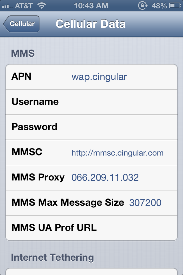 Your MMS settings For Your Carrier and you should find the Answer