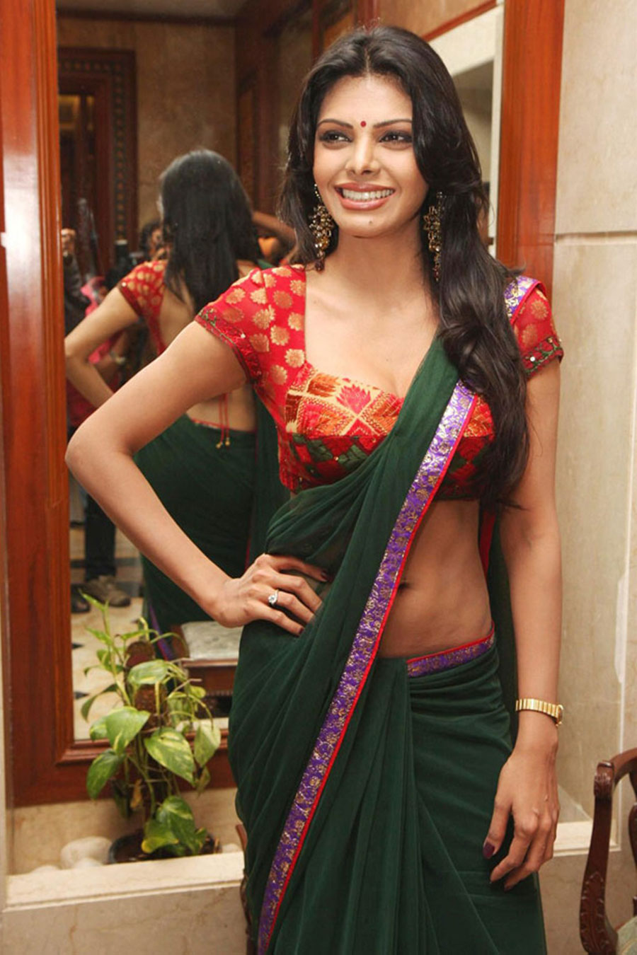 sherlyn chopra in saree cute stills