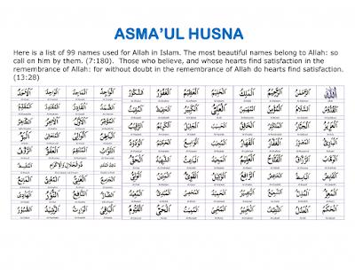 Fadilah Dan Kelebihan 99 Nama Tuhan (Asmaul Husna)