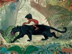 Mowgli riding on Bagheera's back in The Jungle Book  animatedfilmreviews.filminspector.com