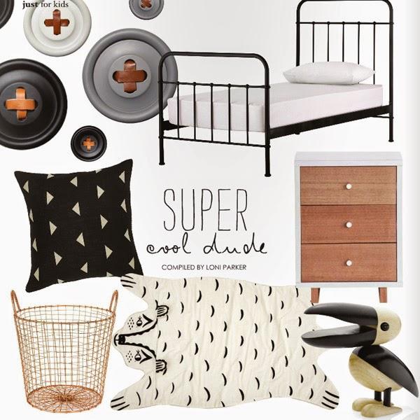 idea para decorar dormitorio infantil en colores blanco negro y madera natural
