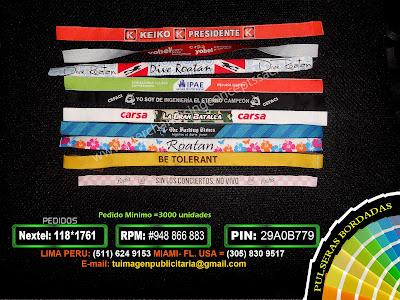 Pulseras Bordadas en tela | pulseras de silicona | pulseras publicitarias en peru