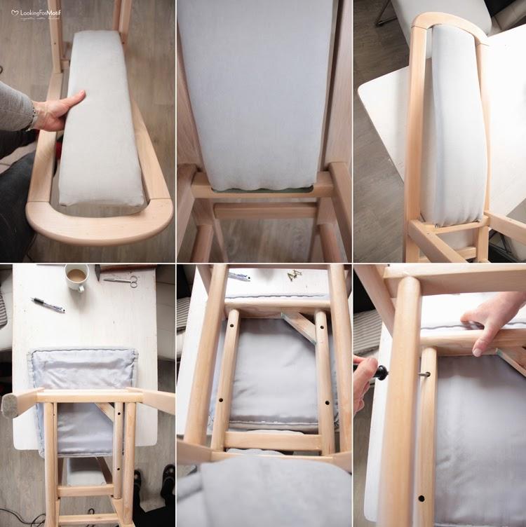 DIY, zrób to sam, przemiana krzesła, zmaina tapicerki na krześle, drewniane krzesło z szarym obiciem - tutorial, składamy krzesło