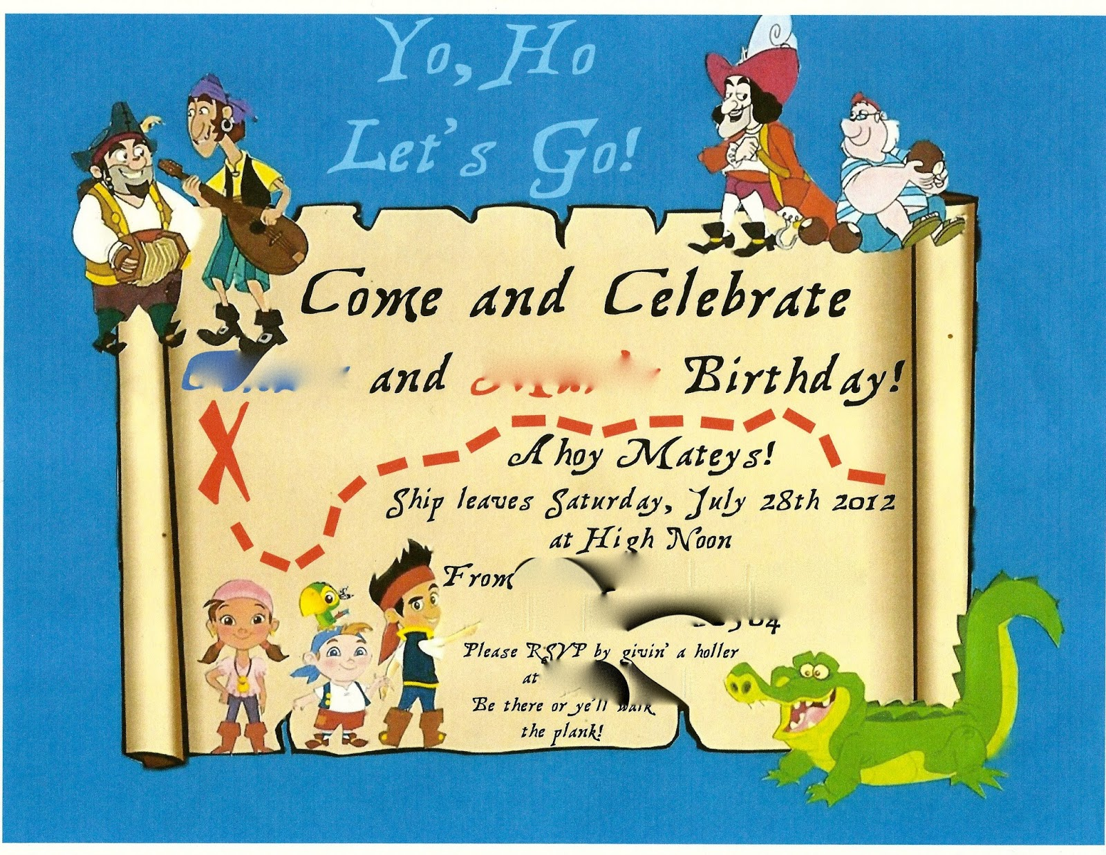 100 jake and the neverland pirates birthday party invitations