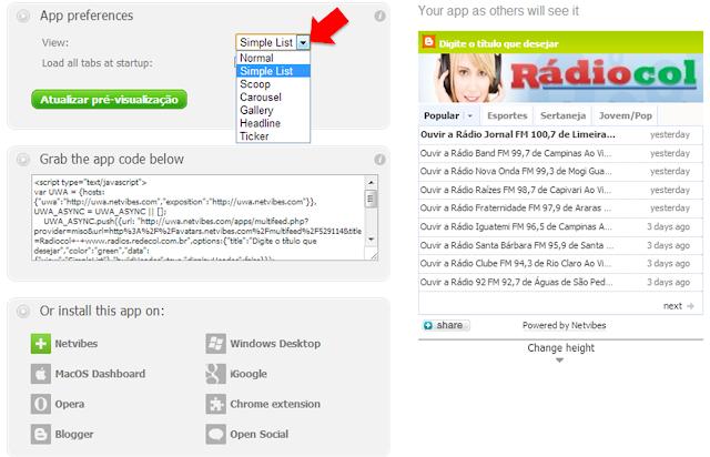 Coloque uma caixa de rádio ao vivo em seu site ou blog, copie e cole o código em seu site ou blog