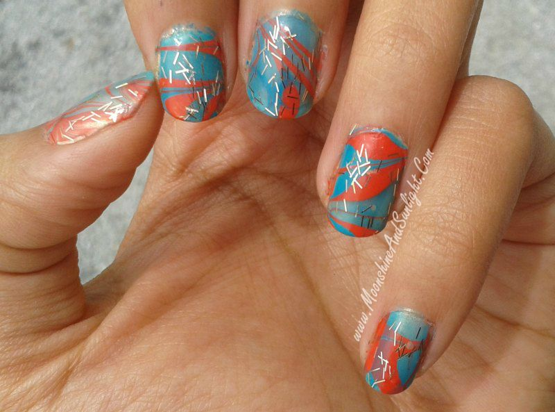 First attempt at water marble nail art with LYN nail laquers ...