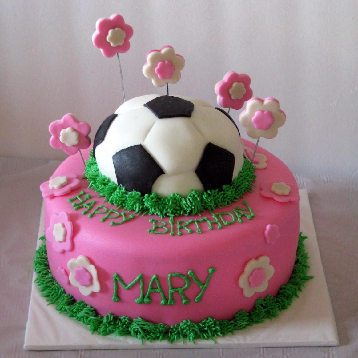 Soccer Cake: Kdf CREATIONS: Girly Soccer Cake