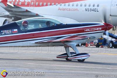 Uno de los aviones pertenecientes a la Escuadrilla Halcones de Chile.