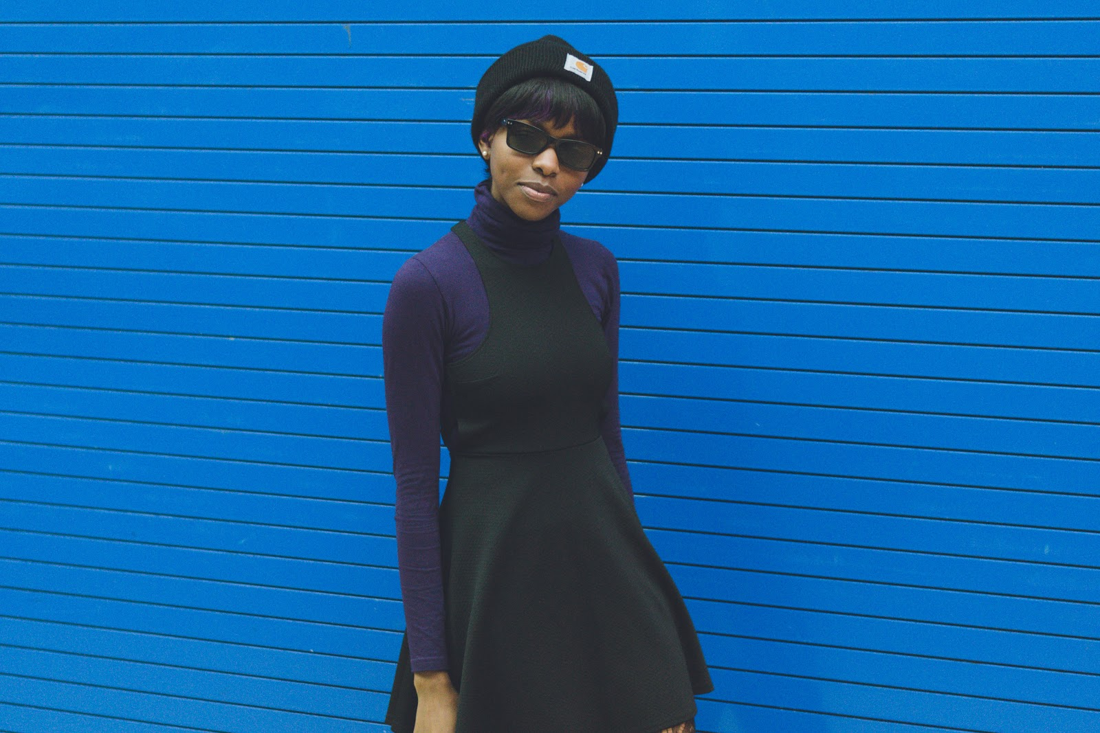 Carhartt Beanie, ASOS Sunglasses, American Apparel Turtleneck, Oh My Love London Dress, Topshop Blazer, Dr. Martens 1460 Boots