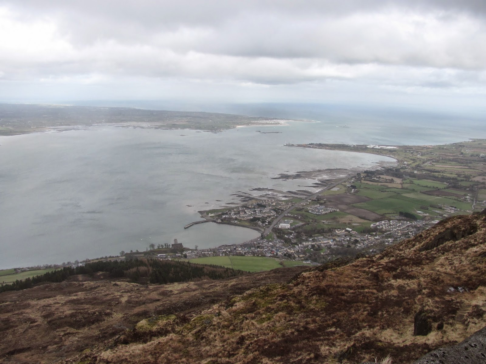 Carlingford and Carlingford Lough from Carlingford Mountain Summit