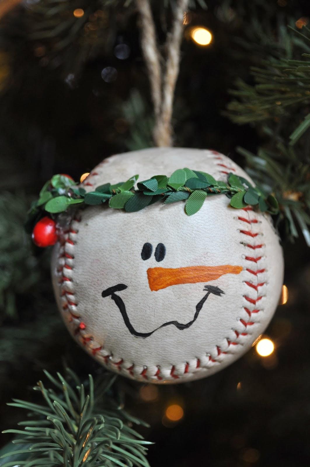 Snowman face ornament - Baseball Snowman Ornament