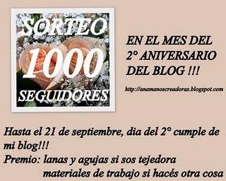 SORTEO EN LO DE ANAMA:1000 SEGUIDORES!!!!♥