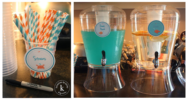 Fish-themed birthday party drinks | kreations by kristy