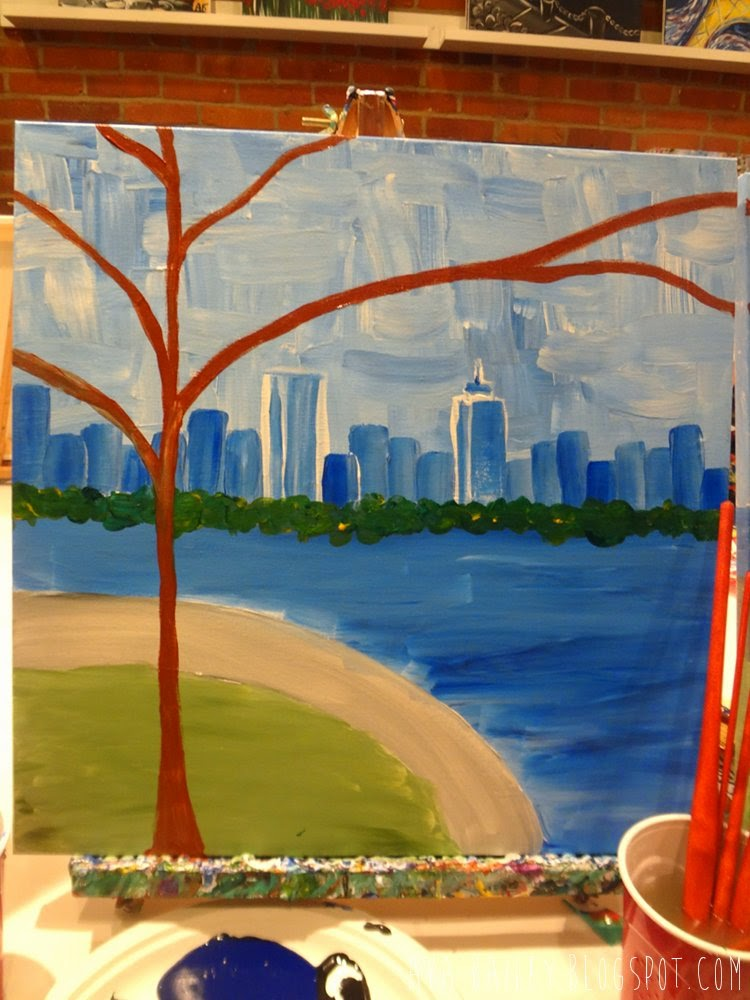 Tree painting, Charles River, Boston skyline
