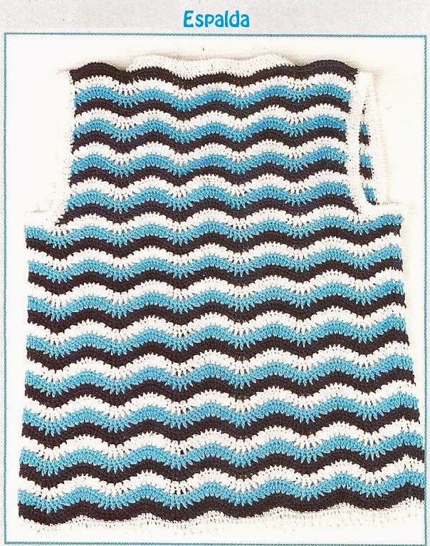 Chaleco en Punto Fantasía Pavo Real a Crochet Modelo N°3 | Tejidos a ...
