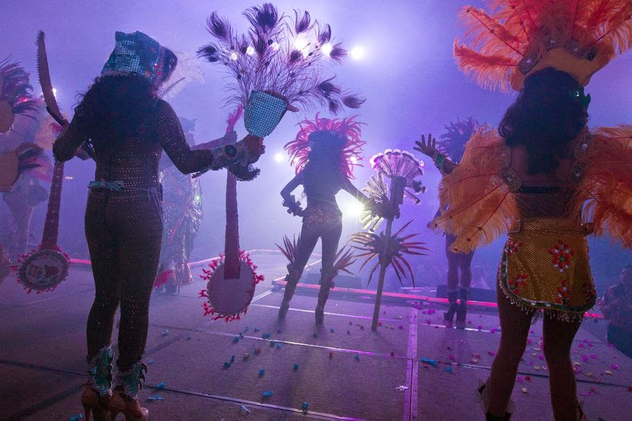 Contestants perform at the annual Miss Gay Nicaragua beauty contest in Managua, Nicaragua on June 20, 2014. For six months prior to the pageant, contestants attended workshops about sexual diversity and HIV.