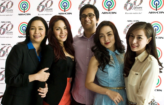 KC, Meg and Cristine with ABS-CBN bosses Laurenti Dyogi and Cory Vidanes