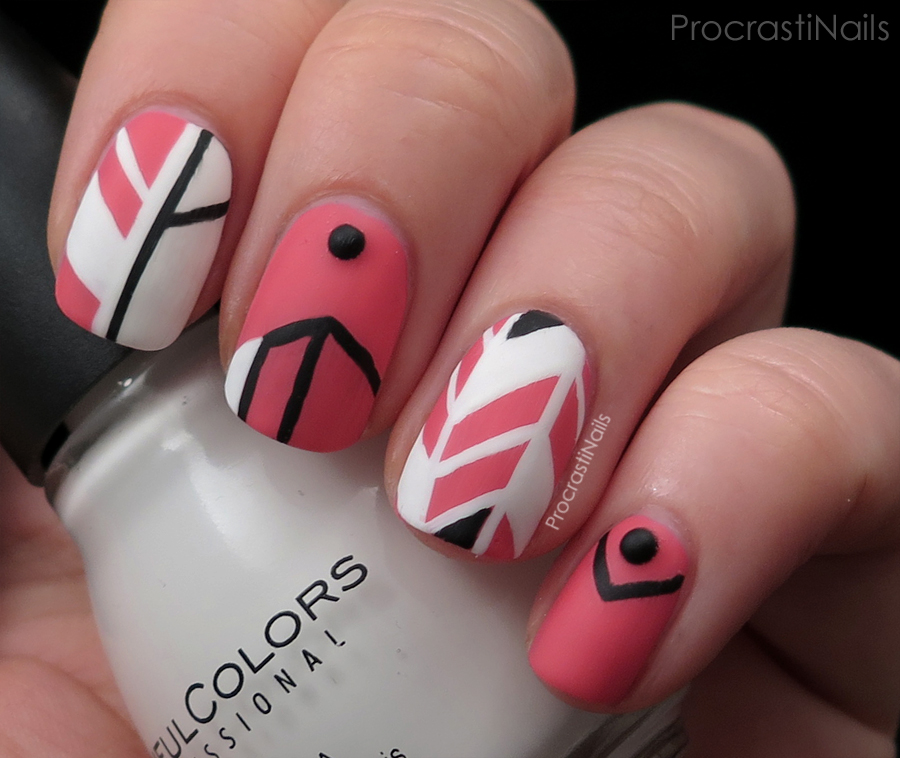 Pink Black And White Geometric Nail Art Procrastinails
