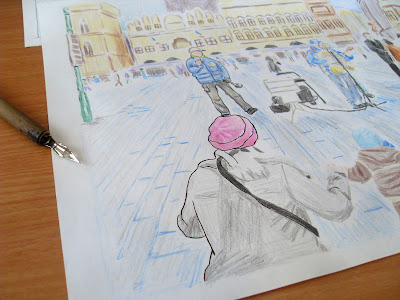 draw prague city landscape ink process