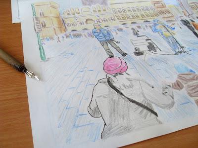 draw prague city landscape ink process