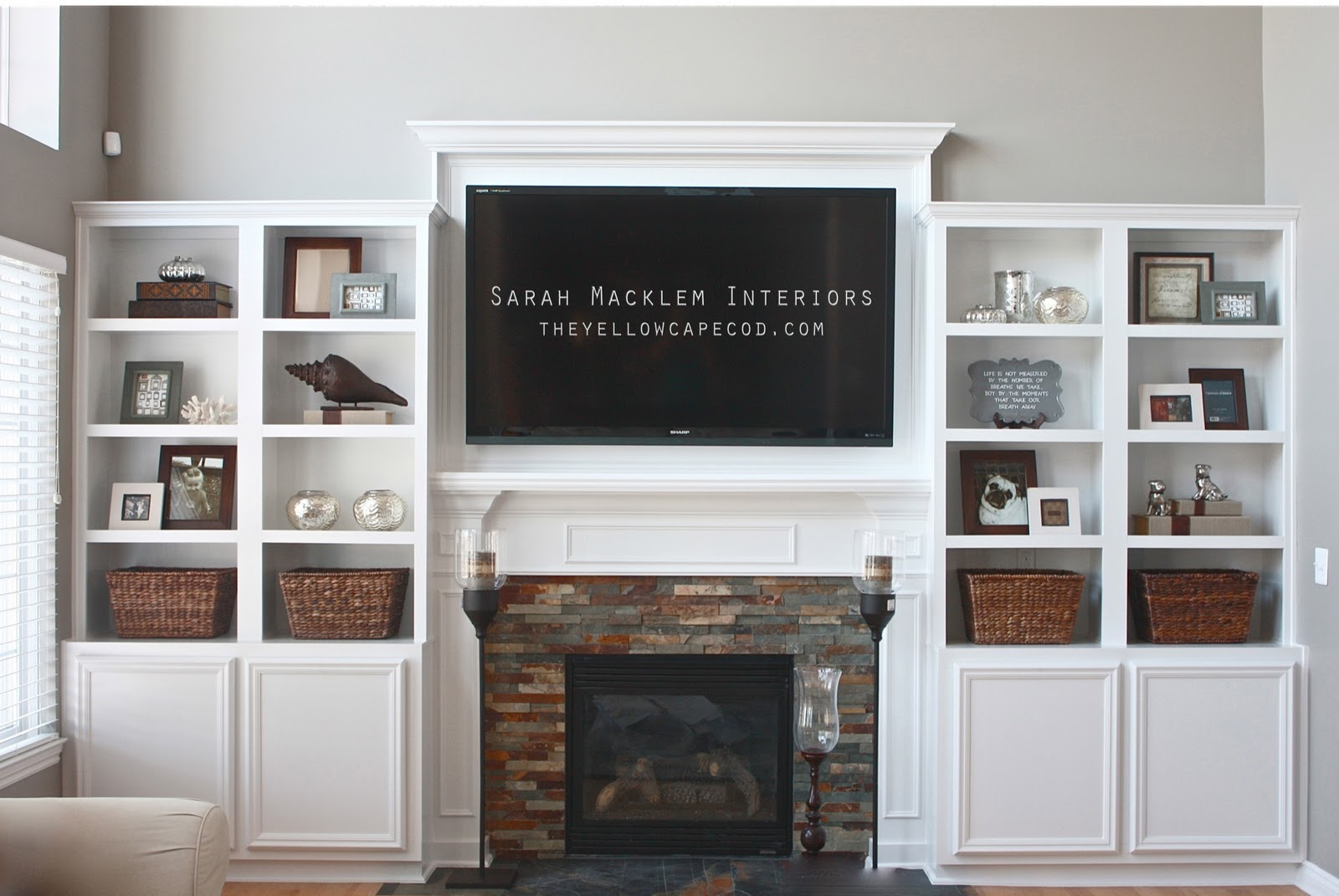 The yellow cape cod extreme fireplace makeover Where to put a bookcase in a room